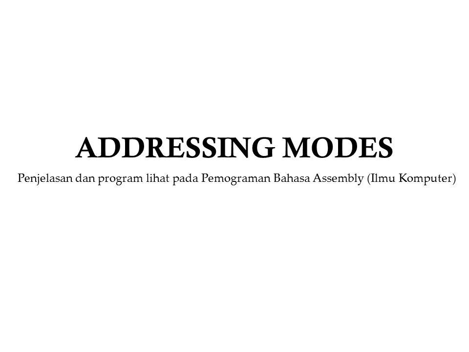 Addressing Modes Dalam bahasa rakitan, hampir semua keinginan pemrogram yang akan mengutipkan data dari satu tempat ke tempat lainnya tersedia instruksinya.