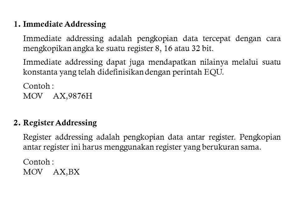 3.Direct Addressing Direct addressing adalah pengkopian data dari suatu simbol ke register.