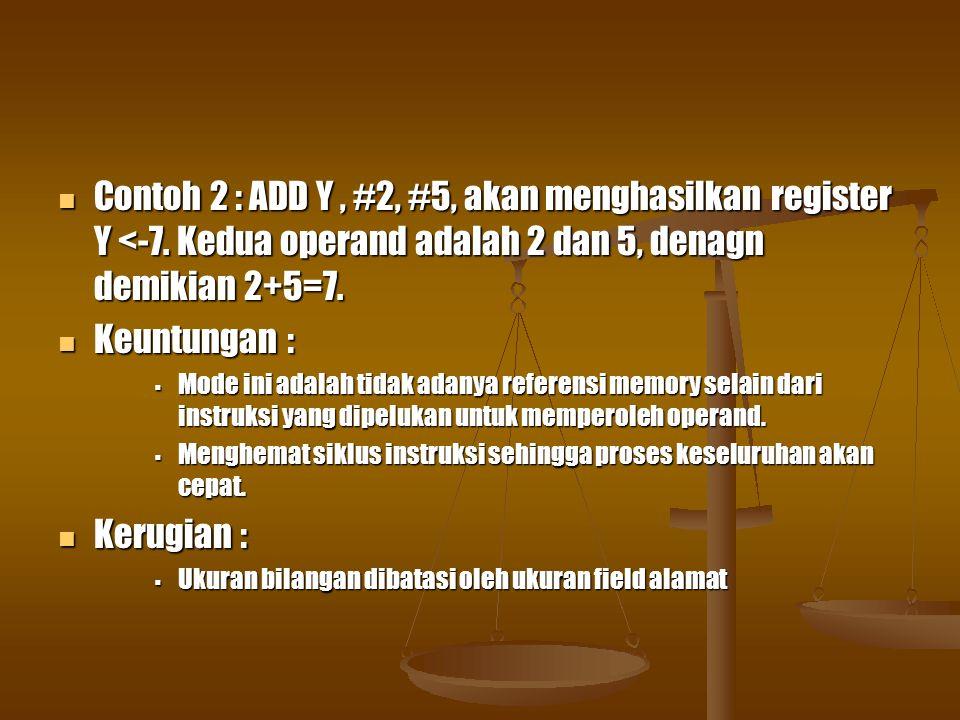Contoh 2 : ADD Y, #2, #5, akan menghasilkan register Y <-7.