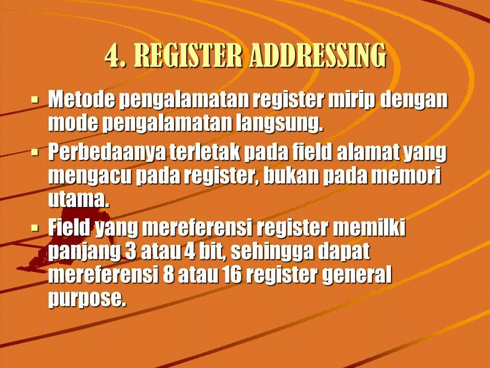 4. REGISTER ADDRESSING  Metode pengalamatan register mirip dengan mode pengalamatan langsung.  Perbedaanya terletak pada field alamat yang mengacu p