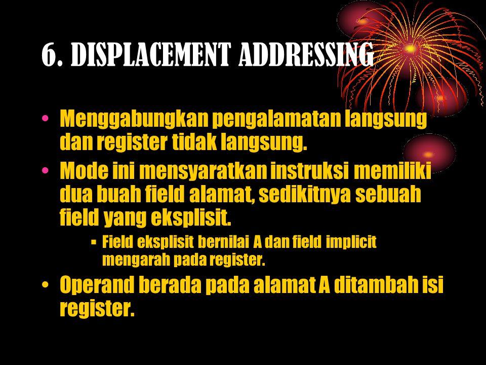 6.DISPLACEMENT ADDRESSING Menggabungkan pengalamatan langsung dan register tidak langsung.