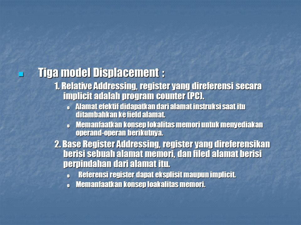 Tiga model Displacement : Tiga model Displacement : 1. Relative Addressing, register yang direferensi secara implicit adalah program counter (PC). o A