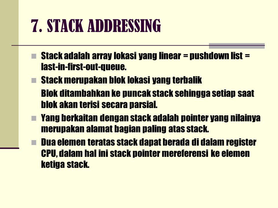 7. STACK ADDRESSING Stack adalah array lokasi yang linear = pushdown list = last-in-first-out-queue. Stack merupakan blok lokasi yang terbalik Blok di