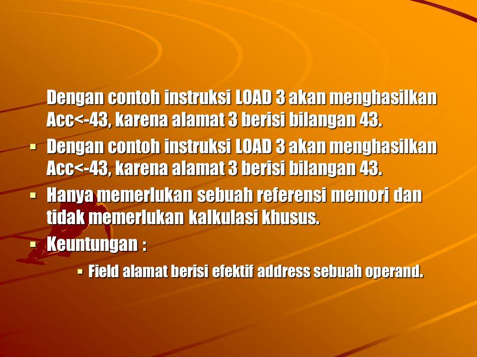 Dengan contoh instruksi LOAD 3 akan menghasilkan Acc<-43, karena alamat 3 berisi bilangan 43.  Dengan contoh instruksi LOAD 3 akan menghasilkan Acc<-