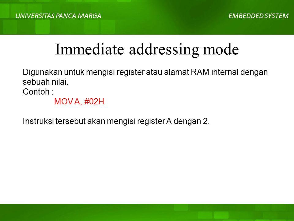 UNIVERSITAS PANCA MARGAEMBEDDED SYSTEM Immediate addressing mode Digunakan untuk mengisi register atau alamat RAM internal dengan sebuah nilai.