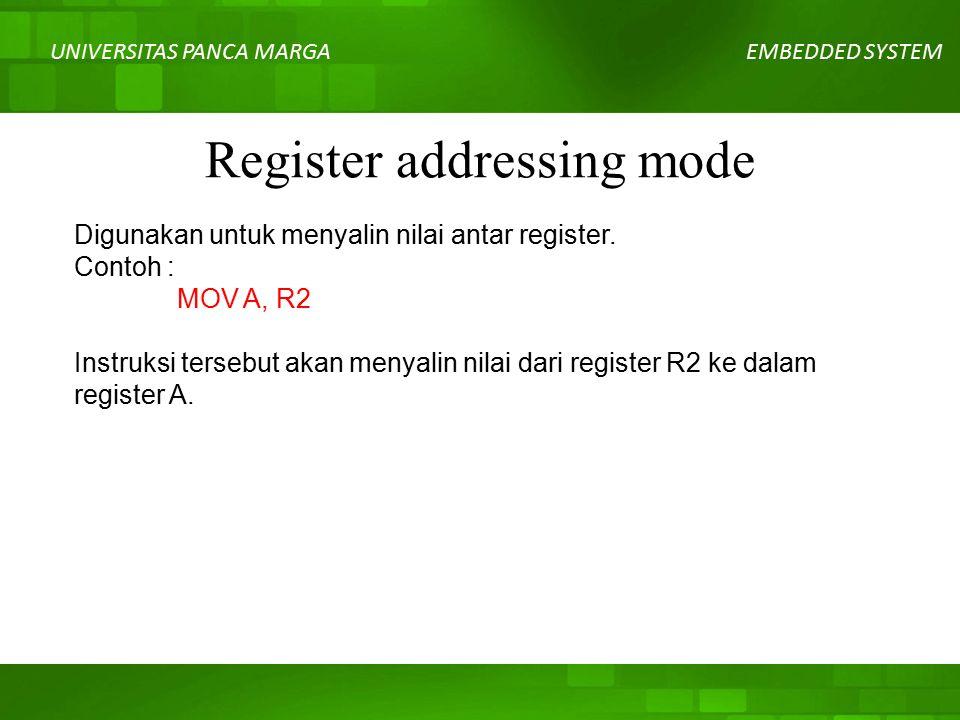 UNIVERSITAS PANCA MARGAEMBEDDED SYSTEM Register addressing mode Digunakan untuk menyalin nilai antar register.