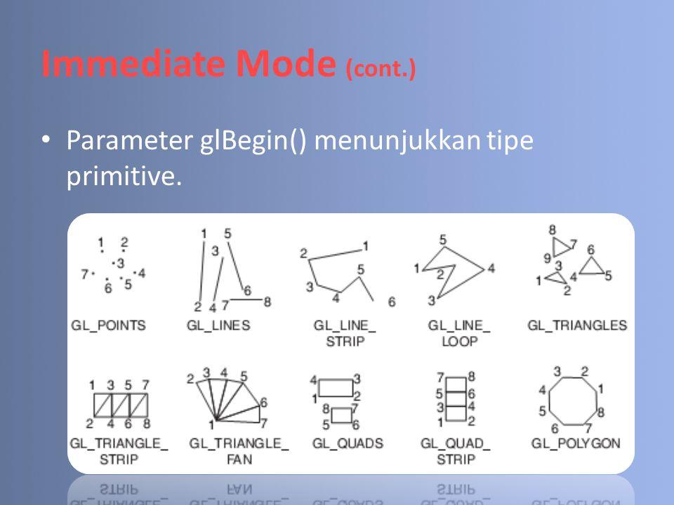 Vertex Arrays (cont.) Ilustrasi : 3 3 2 2 0 0 1 1 Triangle-0 Triangle-1