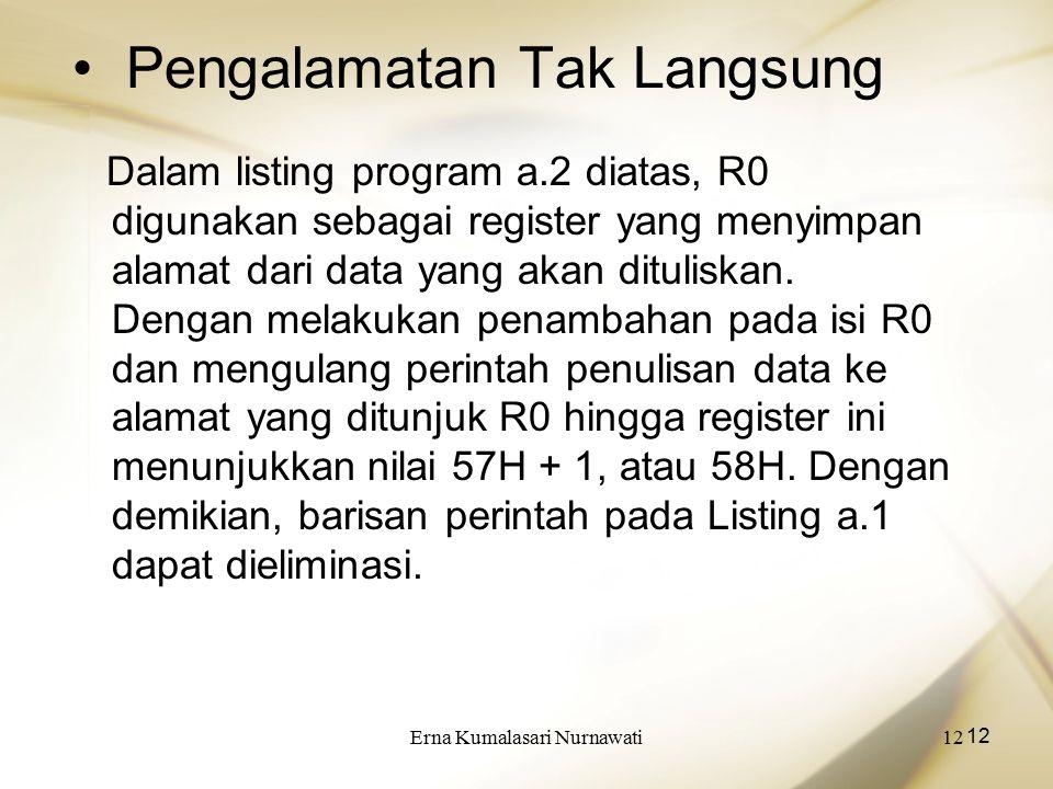 Erna Kumalasari Nurnawati12 Pengalamatan Tak Langsung Dalam listing program a.2 diatas, R0 digunakan sebagai register yang menyimpan alamat dari data yang akan dituliskan.