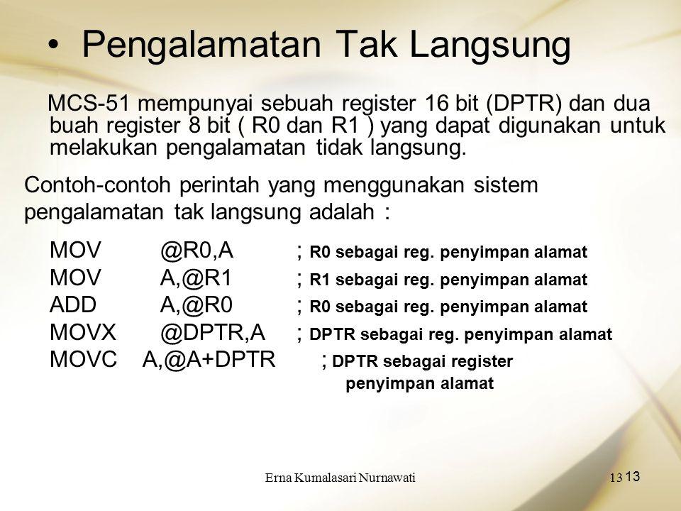 Erna Kumalasari Nurnawati13 Pengalamatan Tak Langsung MCS-51 mempunyai sebuah register 16 bit (DPTR) dan dua buah register 8 bit ( R0 dan R1 ) yang dapat digunakan untuk melakukan pengalamatan tidak langsung.
