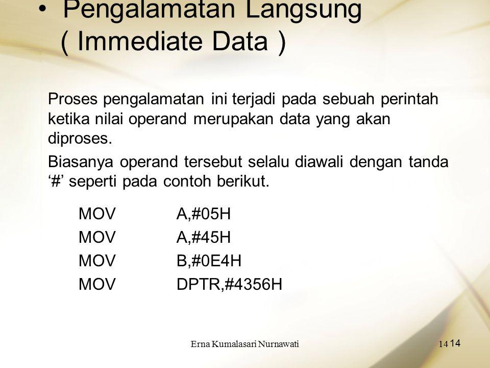Erna Kumalasari Nurnawati14 Pengalamatan Langsung ( Immediate Data ) Proses pengalamatan ini terjadi pada sebuah perintah ketika nilai operand merupakan data yang akan diproses.
