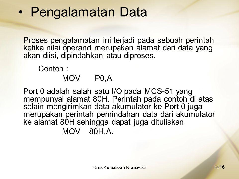 Erna Kumalasari Nurnawati16 Pengalamatan Data Proses pengalamatan ini terjadi pada sebuah perintah ketika nilai operand merupakan alamat dari data yan