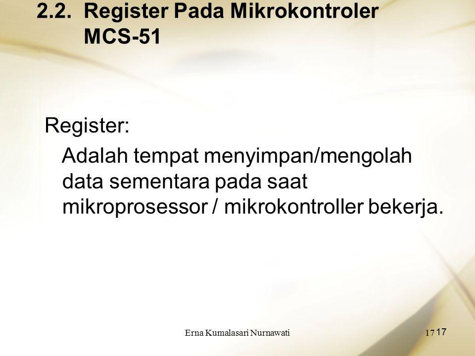 Erna Kumalasari Nurnawati17 2.2. Register Pada Mikrokontroler MCS-51 Register: Adalah tempat menyimpan/mengolah data sementara pada saat mikroprosesso