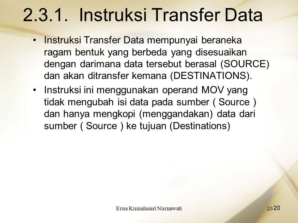 Erna Kumalasari Nurnawati20 2.3.1. Instruksi Transfer Data Instruksi Transfer Data mempunyai beraneka ragam bentuk yang berbeda yang disesuaikan denga