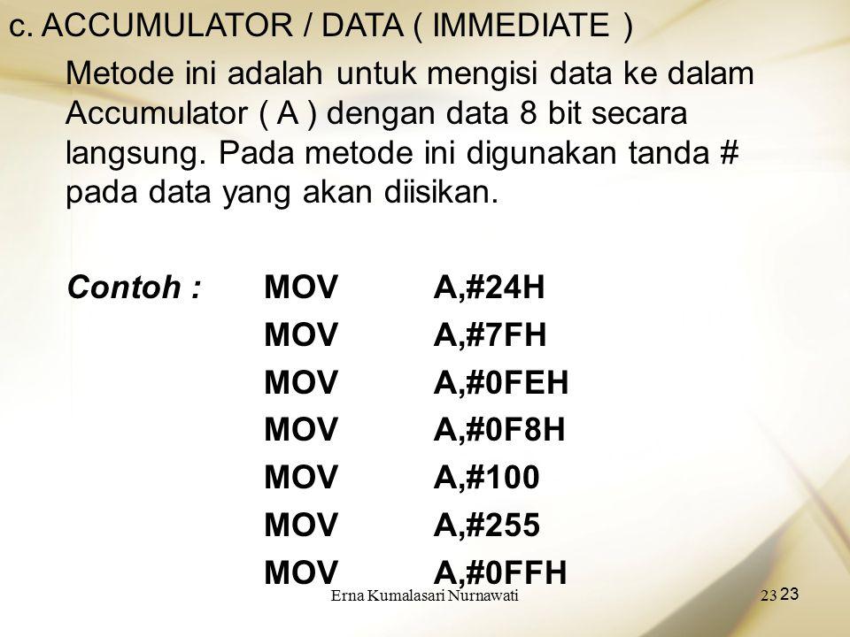 Erna Kumalasari Nurnawati23 c. ACCUMULATOR / DATA ( IMMEDIATE ) Metode ini adalah untuk mengisi data ke dalam Accumulator ( A ) dengan data 8 bit seca