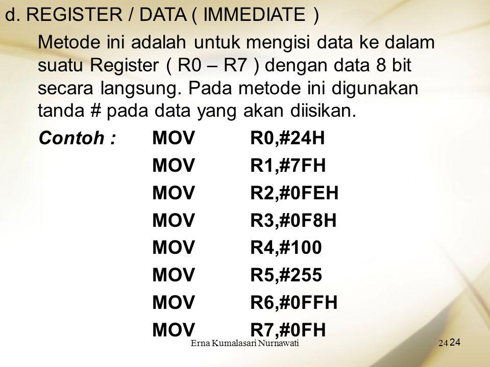 Erna Kumalasari Nurnawati24 d. REGISTER / DATA ( IMMEDIATE ) Metode ini adalah untuk mengisi data ke dalam suatu Register ( R0 – R7 ) dengan data 8 bi