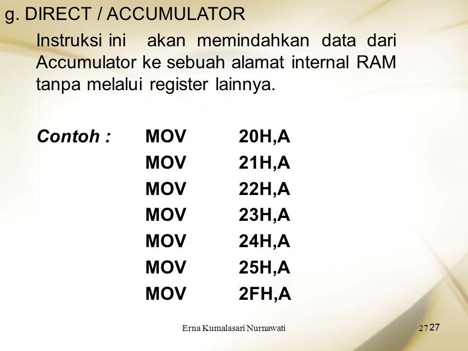 Erna Kumalasari Nurnawati27 g. DIRECT / ACCUMULATOR Instruksi ini akan memindahkan data dari Accumulator ke sebuah alamat internal RAM tanpa melalui r