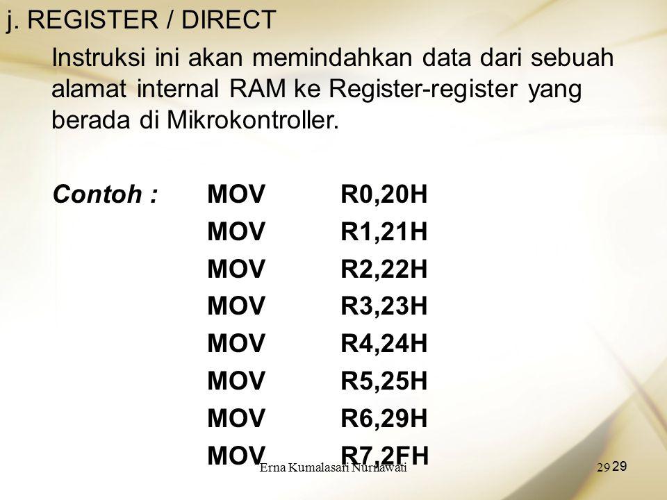 Erna Kumalasari Nurnawati29 j. REGISTER / DIRECT Instruksi ini akan memindahkan data dari sebuah alamat internal RAM ke Register-register yang berada