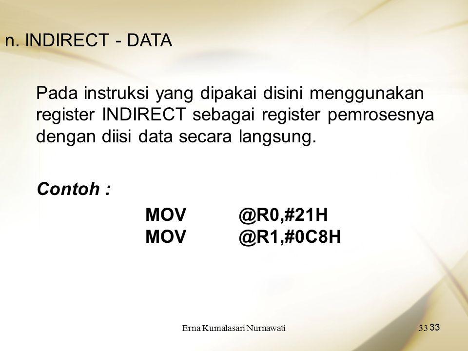 Erna Kumalasari Nurnawati33 n. INDIRECT - DATA Pada instruksi yang dipakai disini menggunakan register INDIRECT sebagai register pemrosesnya dengan di