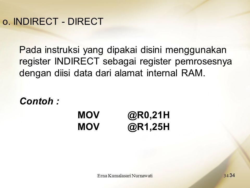 Erna Kumalasari Nurnawati34 o. INDIRECT - DIRECT Pada instruksi yang dipakai disini menggunakan register INDIRECT sebagai register pemrosesnya dengan