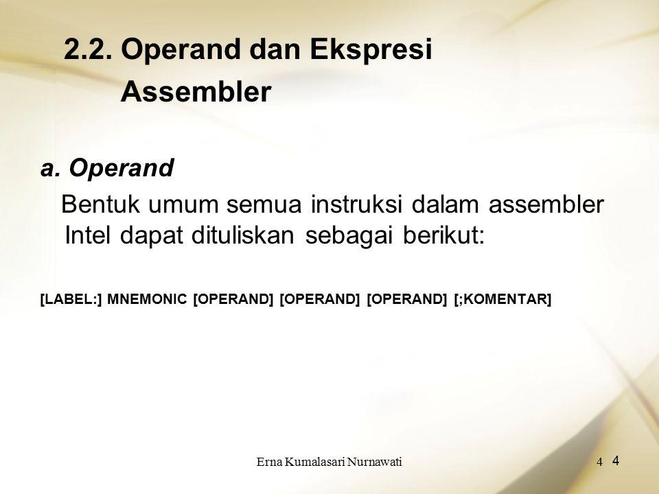 Erna Kumalasari Nurnawati4 4 2.2. Operand dan Ekspresi Assembler a. Operand Bentuk umum semua instruksi dalam assembler Intel dapat dituliskan sebagai
