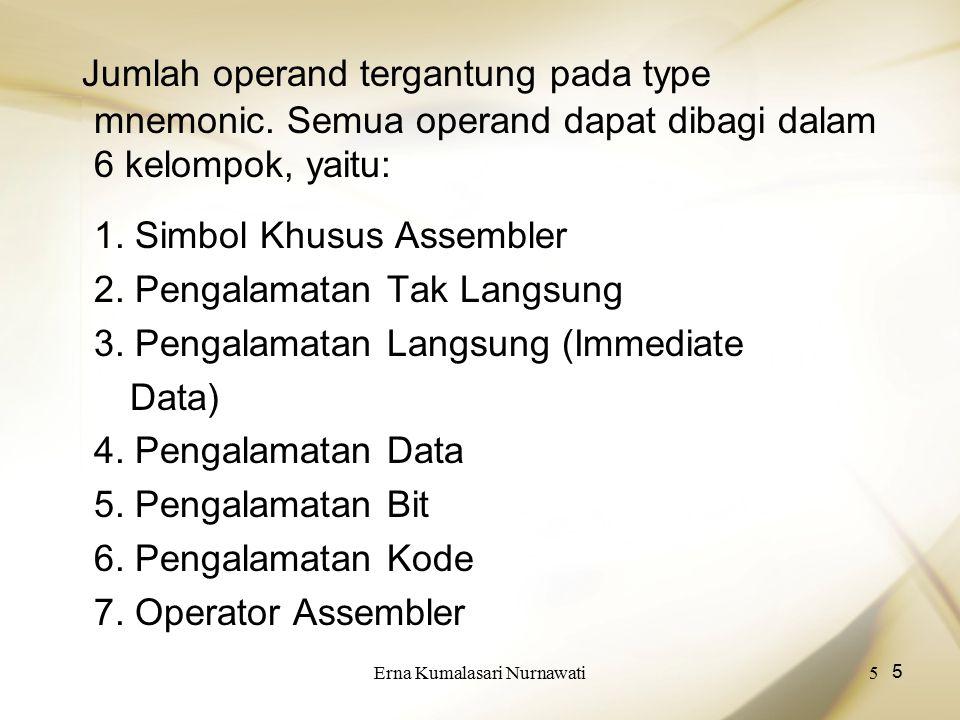 Erna Kumalasari Nurnawati5 5 Jumlah operand tergantung pada type mnemonic. Semua operand dapat dibagi dalam 6 kelompok, yaitu: 1. Simbol Khusus Assemb