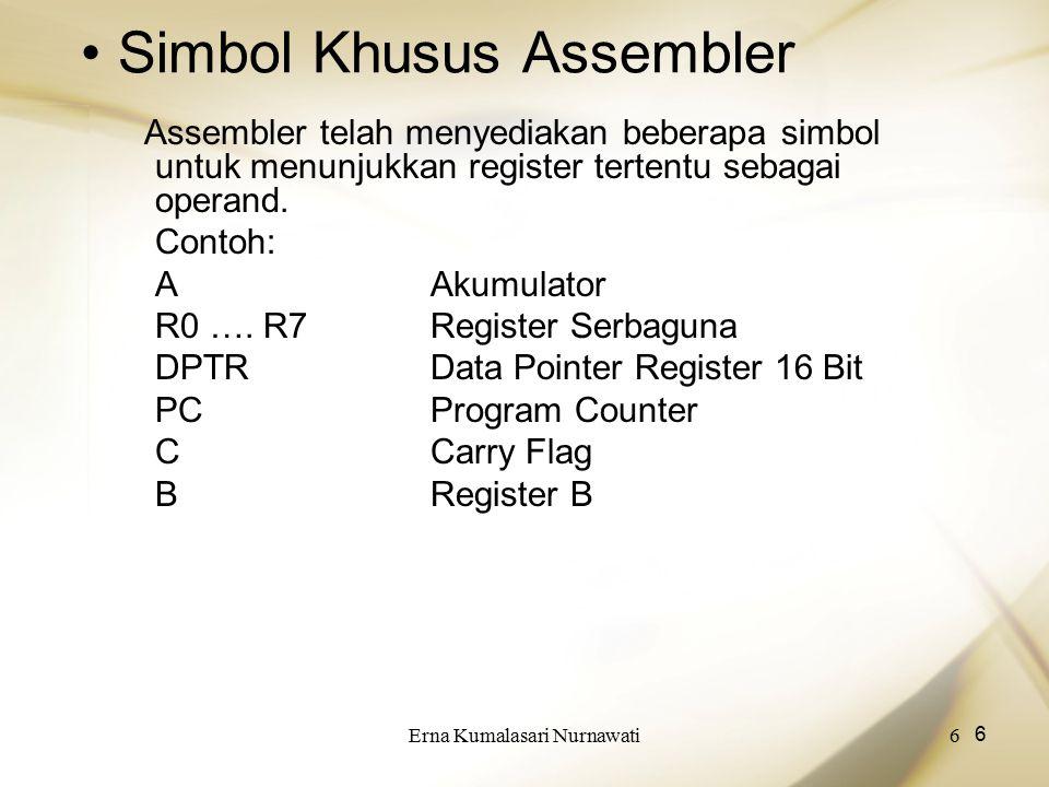 Erna Kumalasari Nurnawati7 7 Pengalamatan Tak Langsung Operand pengalamatan tak langsung menunjuk ke sebuah register yang berisi lokasi alamat memory yang akan digunakan dalam operasi.