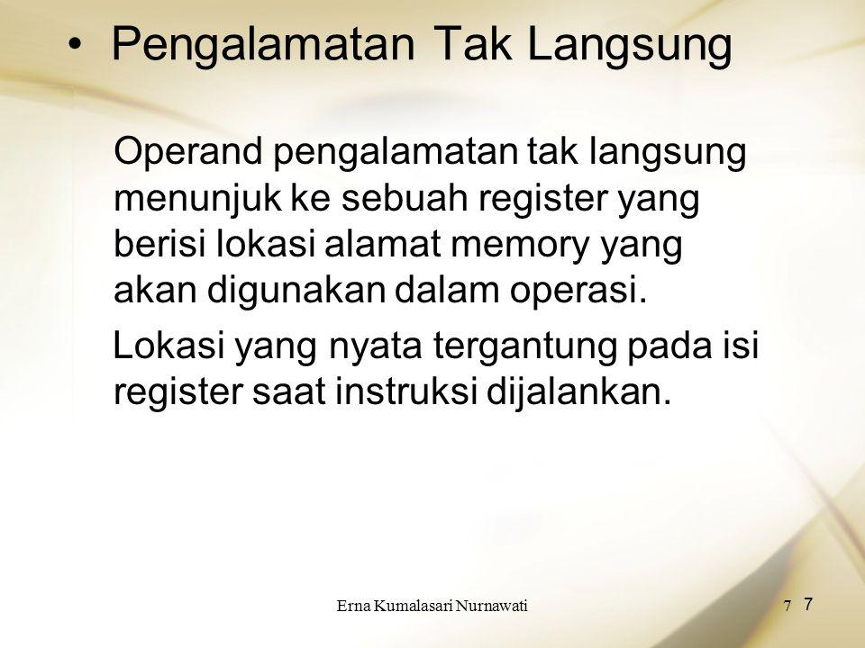 Erna Kumalasari Nurnawati8 8 Pengalamatan Tak Langsung Untuk melaksanakan pengalamatan tak langsung digunakan simbol @ Contoh: MOVA,@R1 MOV@R0,A MOV@R1,24H