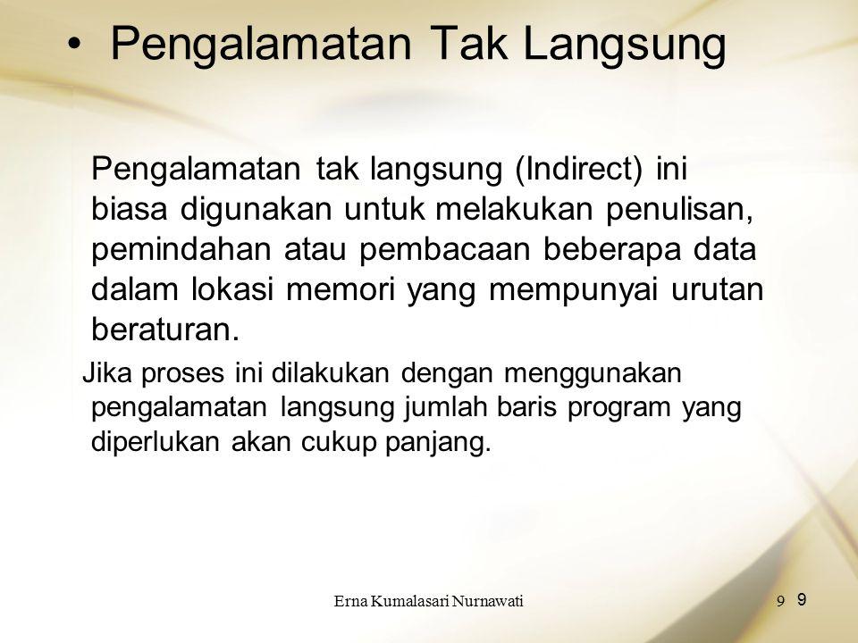 Erna Kumalasari Nurnawati9 9 Pengalamatan Tak Langsung Pengalamatan tak langsung (Indirect) ini biasa digunakan untuk melakukan penulisan, pemindahan