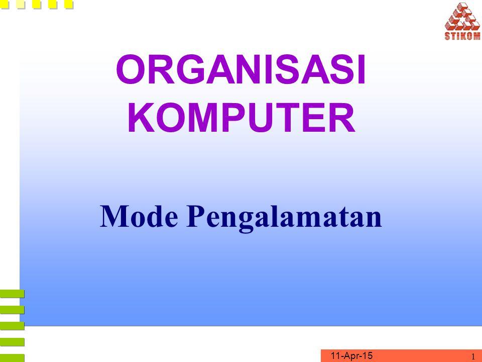 11-Apr-15 1 ORGANISASI KOMPUTER Mode Pengalamatan