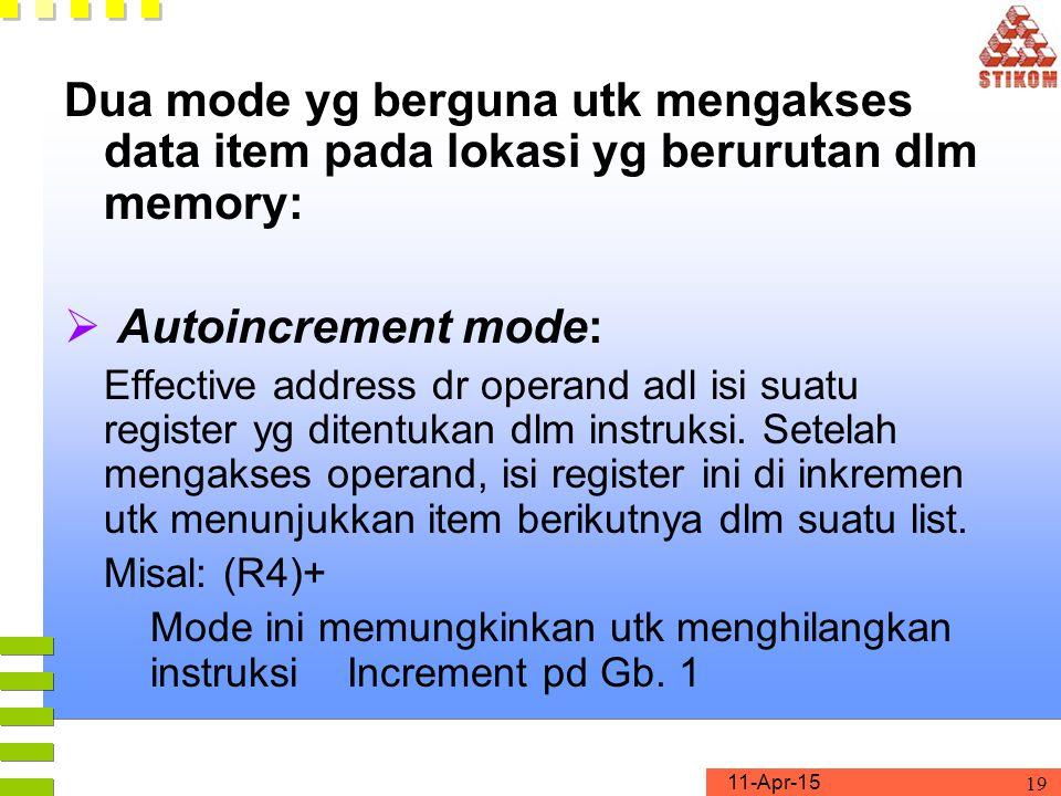 11-Apr-15 19 Dua mode yg berguna utk mengakses data item pada lokasi yg berurutan dlm memory:  Autoincrement mode: Effective address dr operand adl isi suatu register yg ditentukan dlm instruksi.