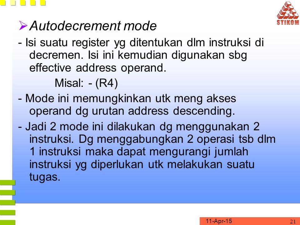 11-Apr-15 21  Autodecrement mode - Isi suatu register yg ditentukan dlm instruksi di decremen.