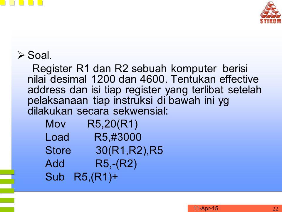 11-Apr-15 22  Soal.Register R1 dan R2 sebuah komputer berisi nilai desimal 1200 dan 4600.