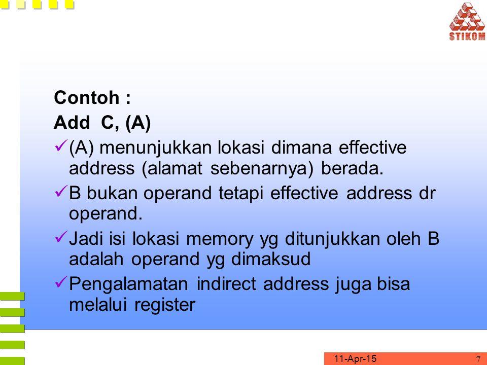 11-Apr-15 7 Contoh : Add C, (A) (A) menunjukkan lokasi dimana effective address (alamat sebenarnya) berada.