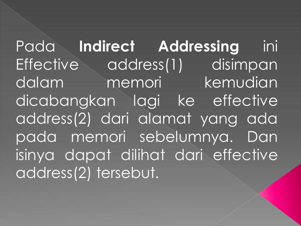 Pada Indirect Addressing ini Effective address(1) disimpan dalam memori kemudian dicabangkan lagi ke effective address(2) dari alamat yang ada pada me