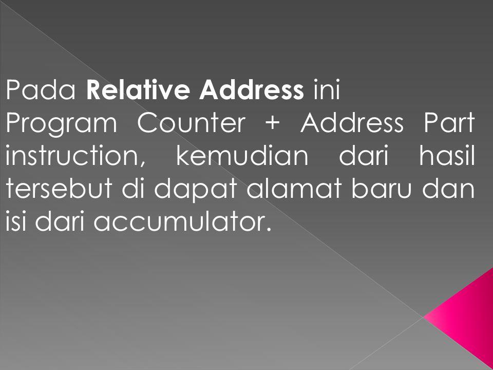 Pada Relative Address ini Program Counter + Address Part instruction, kemudian dari hasil tersebut di dapat alamat baru dan isi dari accumulator.