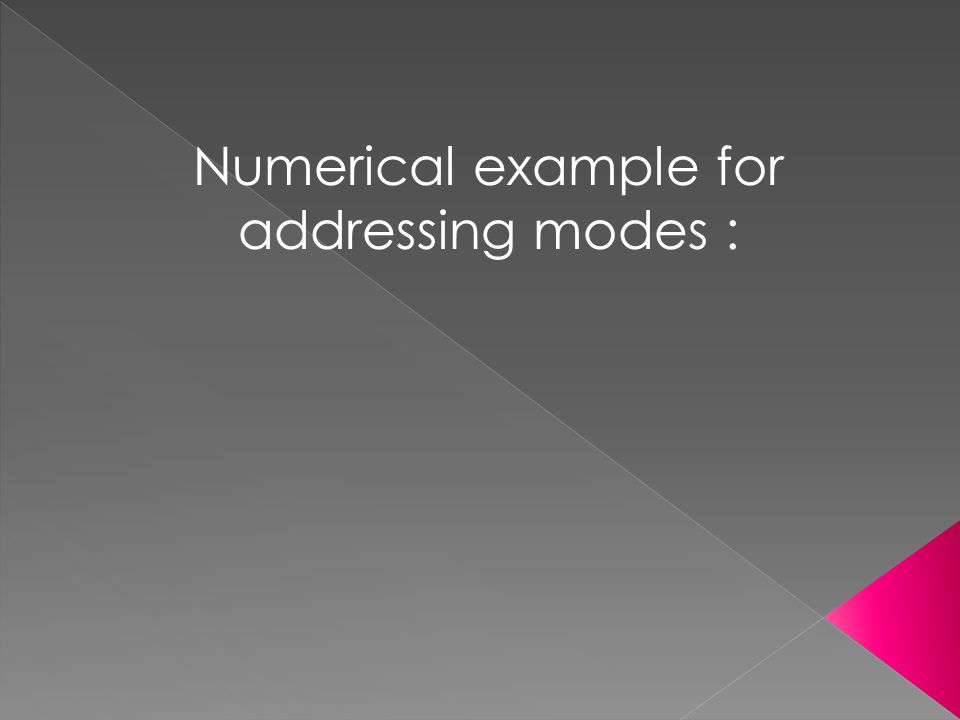 Numerical example for addressing modes :
