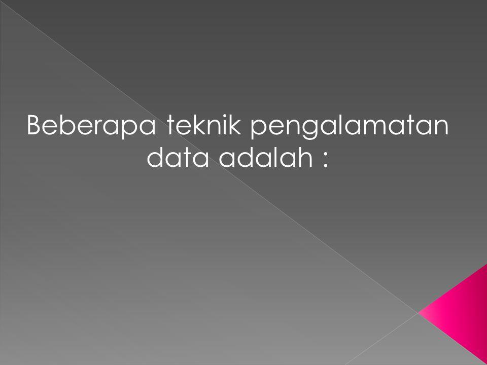 Beberapa teknik pengalamatan data adalah :