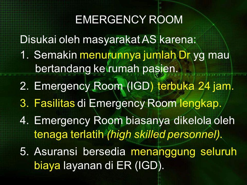 EMERGENCY ROOM Disukai oleh masyarakat AS karena: 1.Semakin menurunnya jumlah Dr yg mau bertandang ke rumah pasien.