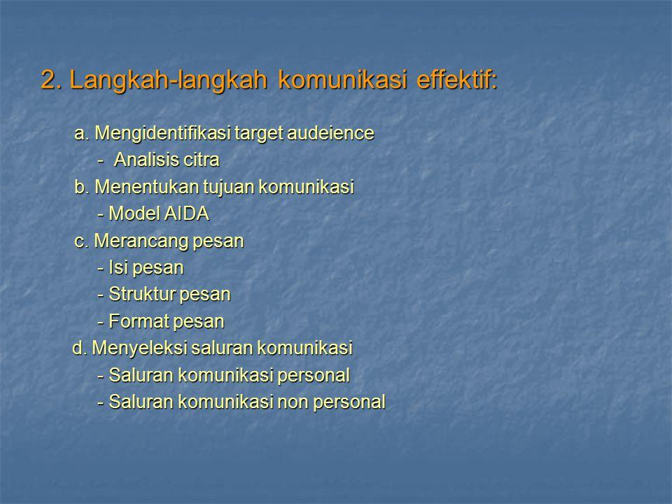 2. Langkah-langkah komunikasi effektif: a. Mengidentifikasi target audeience - Analisis citra - Analisis citra b. Menentukan tujuan komunikasi - Model