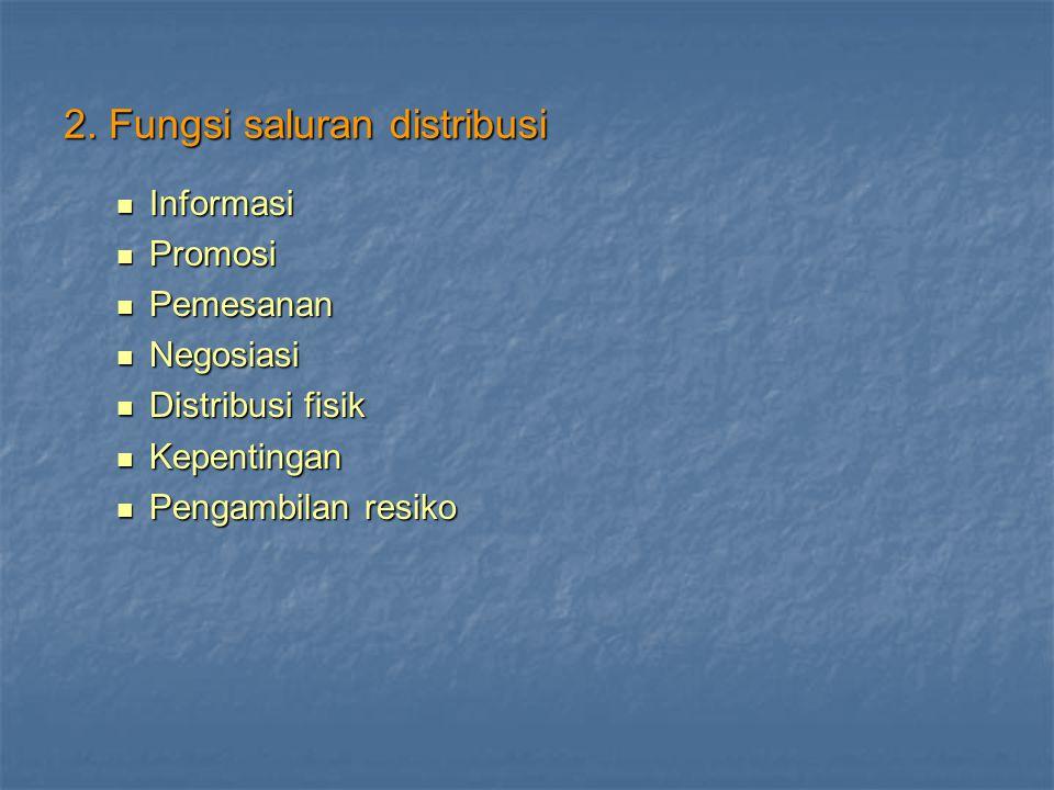 2. Fungsi saluran distribusi Informasi Informasi Promosi Promosi Pemesanan Pemesanan Negosiasi Negosiasi Distribusi fisik Distribusi fisik Kepentingan
