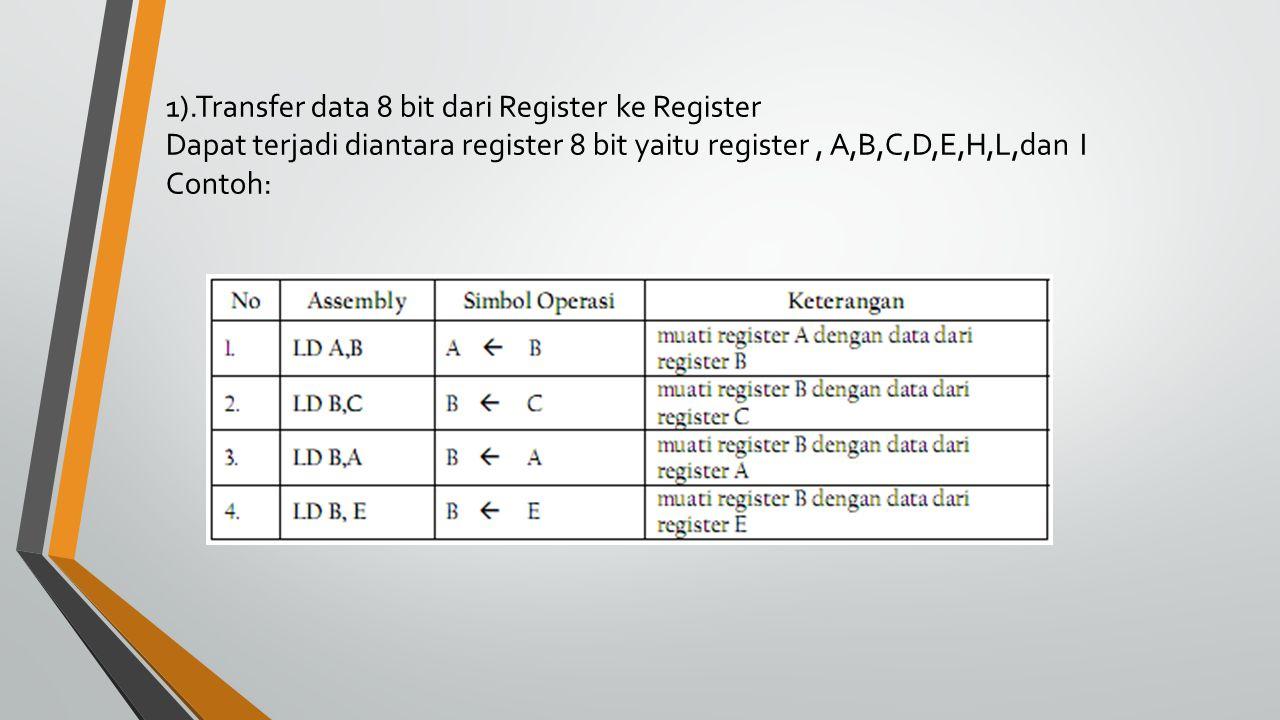 1).Transfer data 8 bit dari Register ke Register Dapat terjadi diantara register 8 bit yaitu register, A,B,C,D,E,H,L,dan I Contoh: