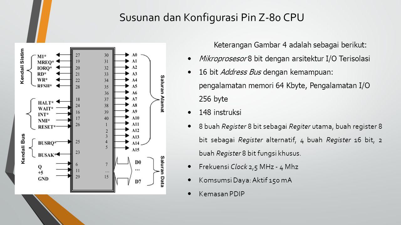 Susunan dan Konfigurasi Pin Z-80 CPU Keterangan Gambar 4 adalah sebagai berikut:  Mikroprosesor 8 bit dengan arsitektur I/O Terisolasi  16 bit Address Bus dengan kemampuan: pengalamatan memori 64 Kbyte, Pengalamatan I/O 256 byte  148 instruksi  8 buah Register 8 bit sebagai Regiter utama, buah register 8 bit sebagai Register alternatif, 4 buah Register 16 bit, 2 buah Register 8 bit fungsi khusus.