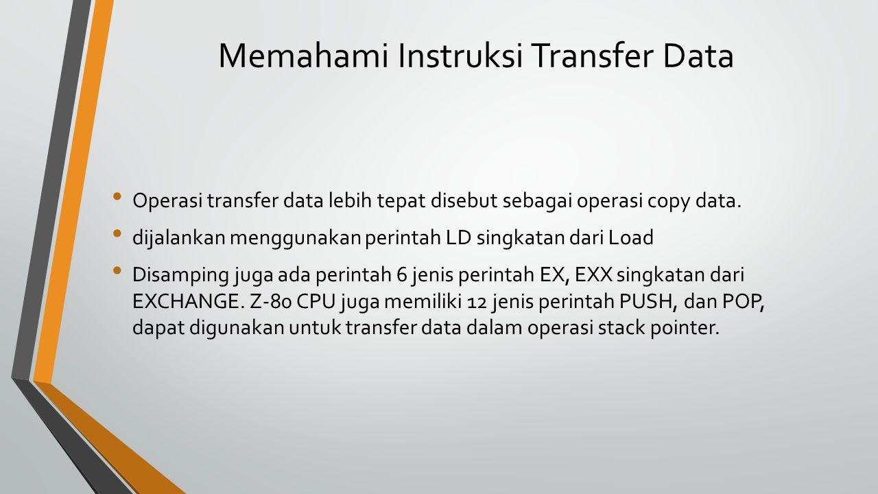 Memahami Instruksi Transfer Data Operasi transfer data lebih tepat disebut sebagai operasi copy data.