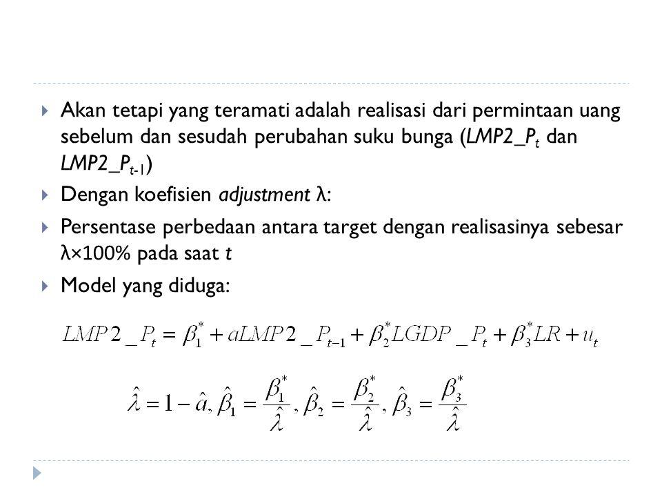  Akan tetapi yang teramati adalah realisasi dari permintaan uang sebelum dan sesudah perubahan suku bunga (LMP2_P t dan LMP2_P t-1 )  Dengan koefisien adjustment λ :  Persentase perbedaan antara target dengan realisasinya sebesar λ × 100% pada saat t  Model yang diduga: