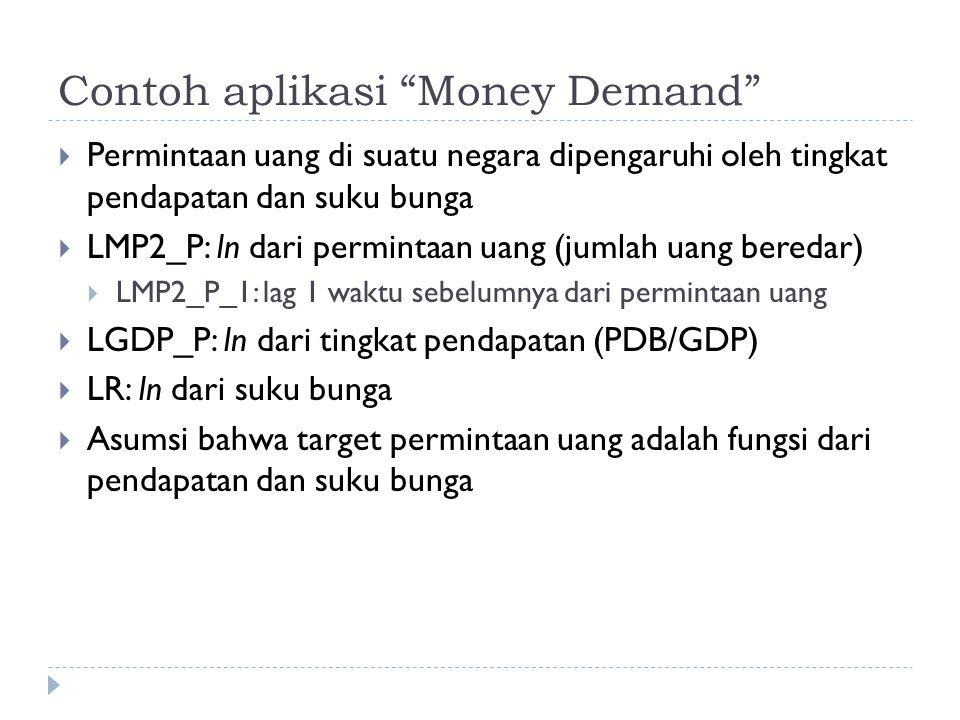 Contoh aplikasi Money Demand  Permintaan uang di suatu negara dipengaruhi oleh tingkat pendapatan dan suku bunga  LMP2_P: ln dari permintaan uang (jumlah uang beredar)  LMP2_P_1: lag 1 waktu sebelumnya dari permintaan uang  LGDP_P: ln dari tingkat pendapatan (PDB/GDP)  LR: ln dari suku bunga  Asumsi bahwa target permintaan uang adalah fungsi dari pendapatan dan suku bunga