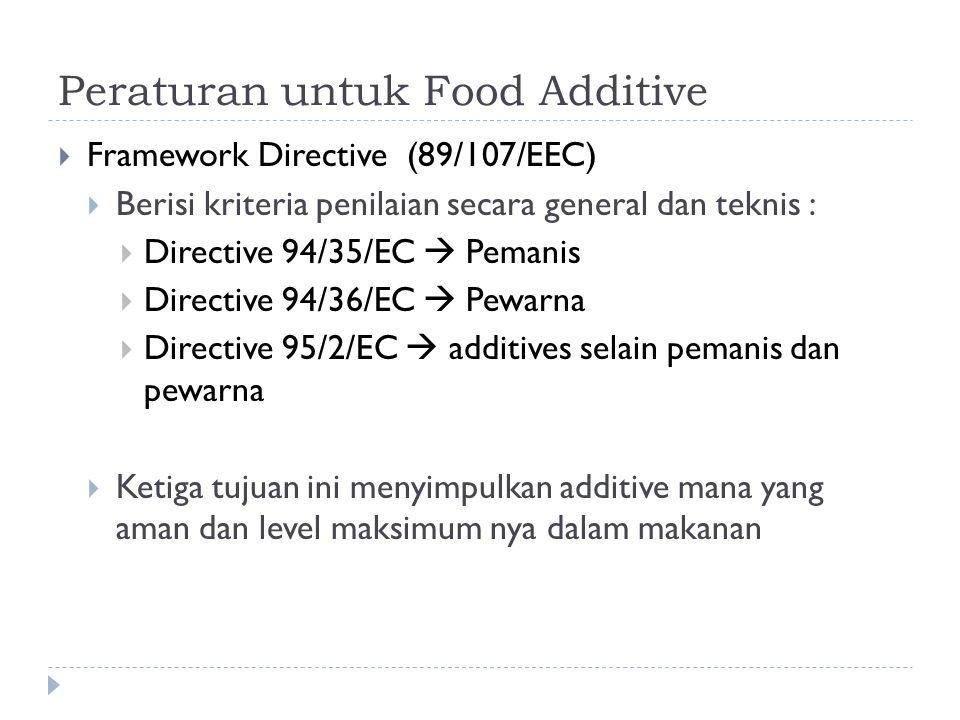 Peraturan untuk Food Additive  Framework Directive (89/107/EEC)  Berisi kriteria penilaian secara general dan teknis :  Directive 94/35/EC  Pemanis  Directive 94/36/EC  Pewarna  Directive 95/2/EC  additives selain pemanis dan pewarna  Ketiga tujuan ini menyimpulkan additive mana yang aman dan level maksimum nya dalam makanan