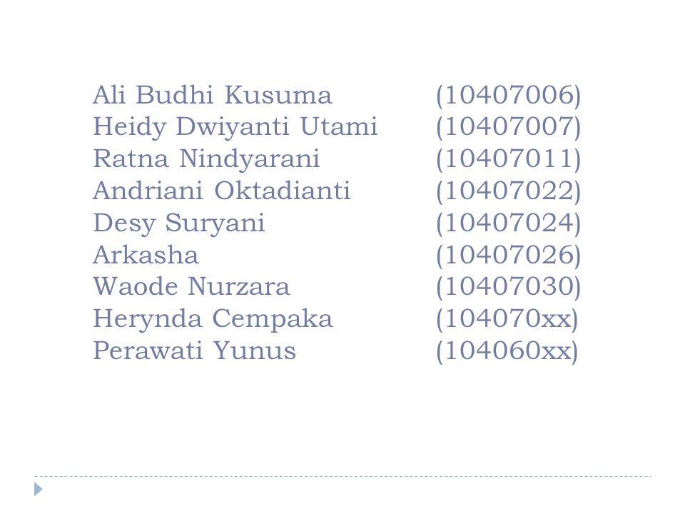 Ali Budhi Kusuma(10407006) Heidy Dwiyanti Utami (10407007) Ratna Nindyarani (10407011) Andriani Oktadianti (10407022) Desy Suryani (10407024) Arkasha (10407026) Waode Nurzara (10407030) Herynda Cempaka(104070xx) Perawati Yunus (104060xx)