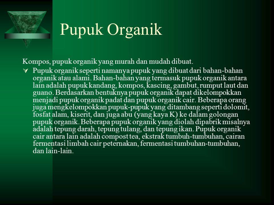 Pupuk Organik Kompos, pupuk organik yang murah dan mudah dibuat.  Pupuk organik seperti namanya pupuk yang dibuat dari bahan-bahan organik atau alami