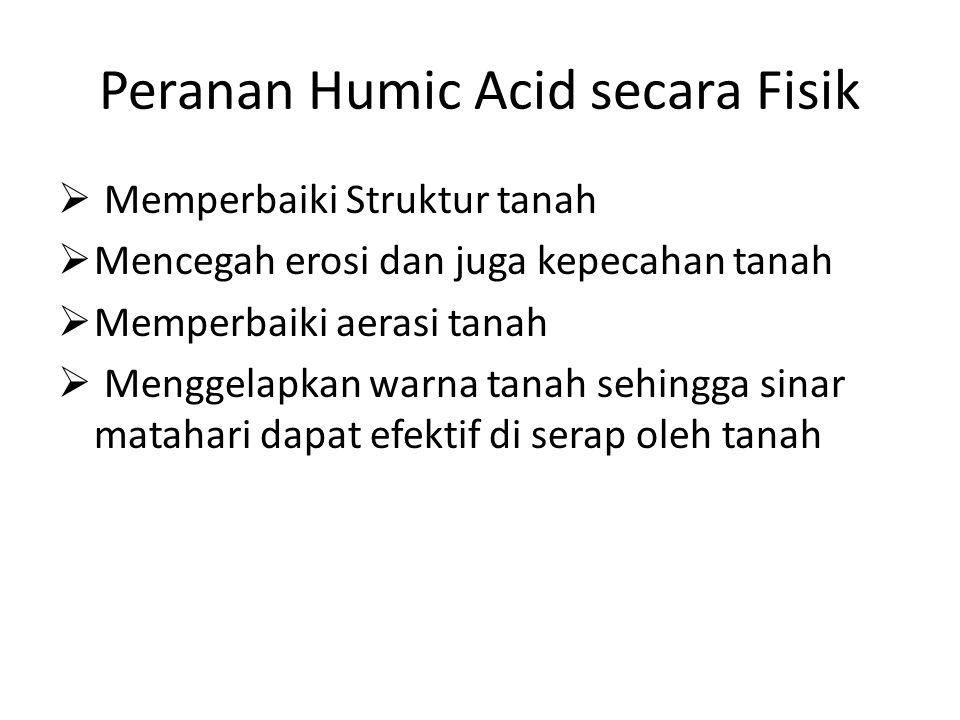 Peranan Humic Acid secara Fisik  Memperbaiki Struktur tanah  Mencegah erosi dan juga kepecahan tanah  Memperbaiki aerasi tanah  Menggelapkan warna