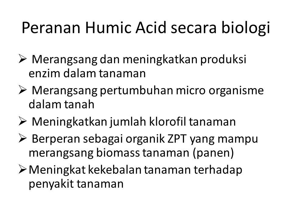 Peranan Humic Acid secara biologi  Merangsang dan meningkatkan produksi enzim dalam tanaman  Merangsang pertumbuhan micro organisme dalam tanah  Me